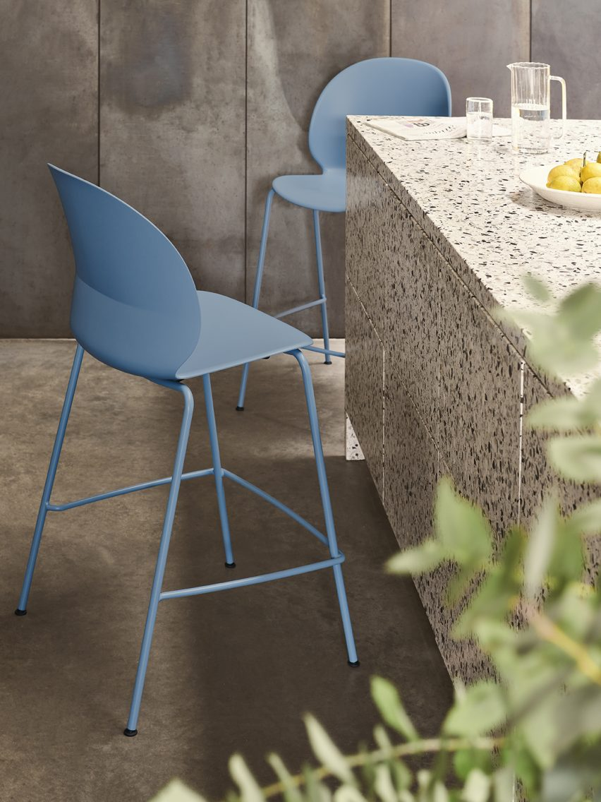 N02 Recycle counter chairs in monochrome light blue