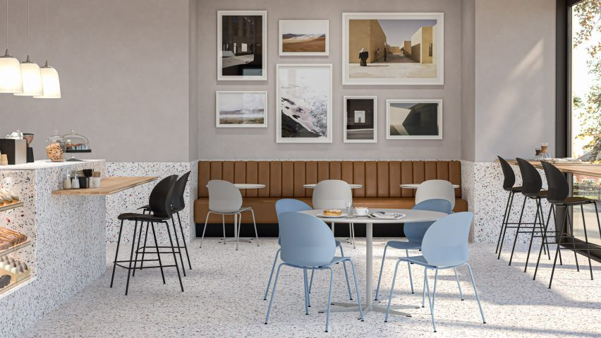 NO2 Recycle chairs by Fritz Hansen and Nendo in a cafe interior