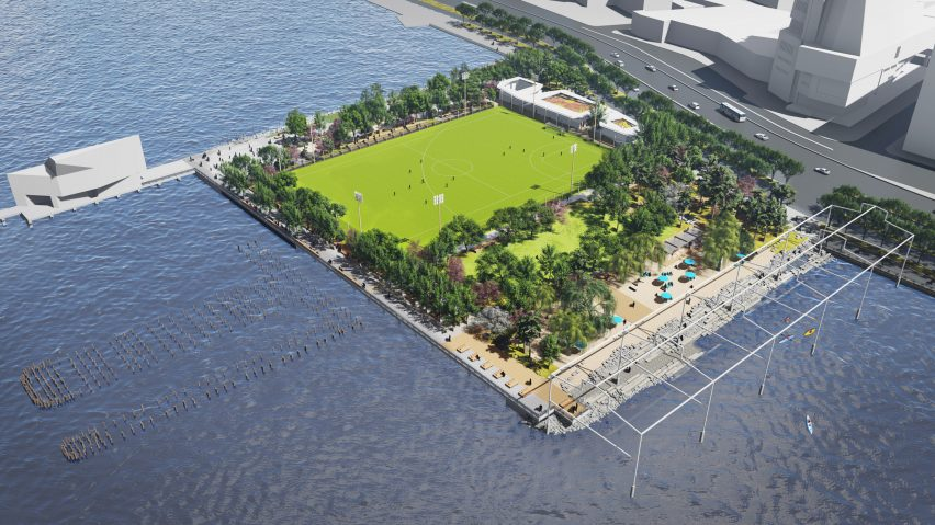 The peninsula will feature a large sports field