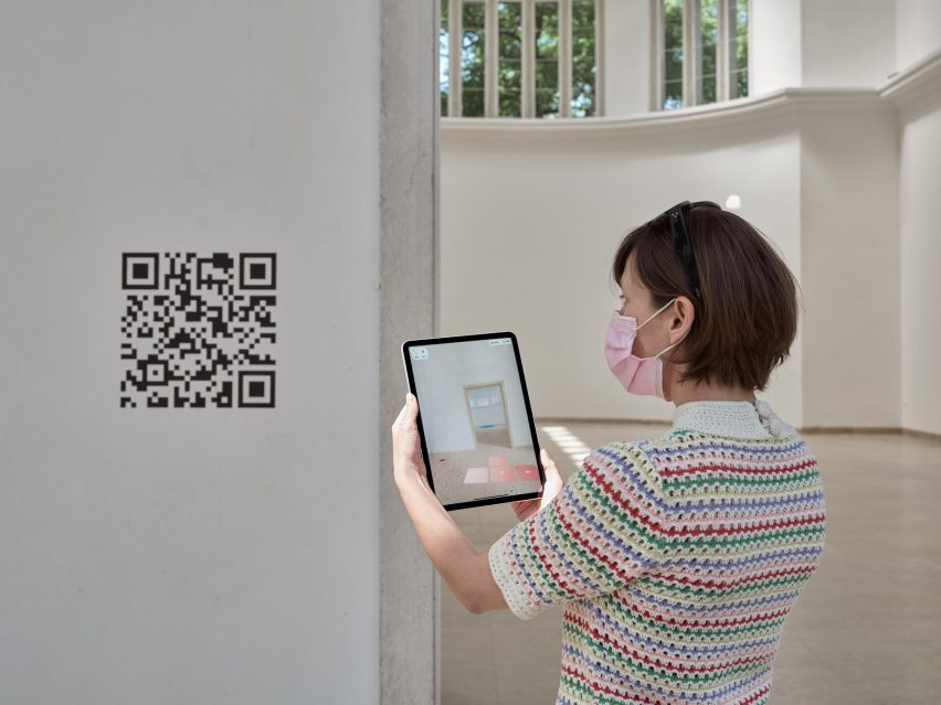 QR code on white wall