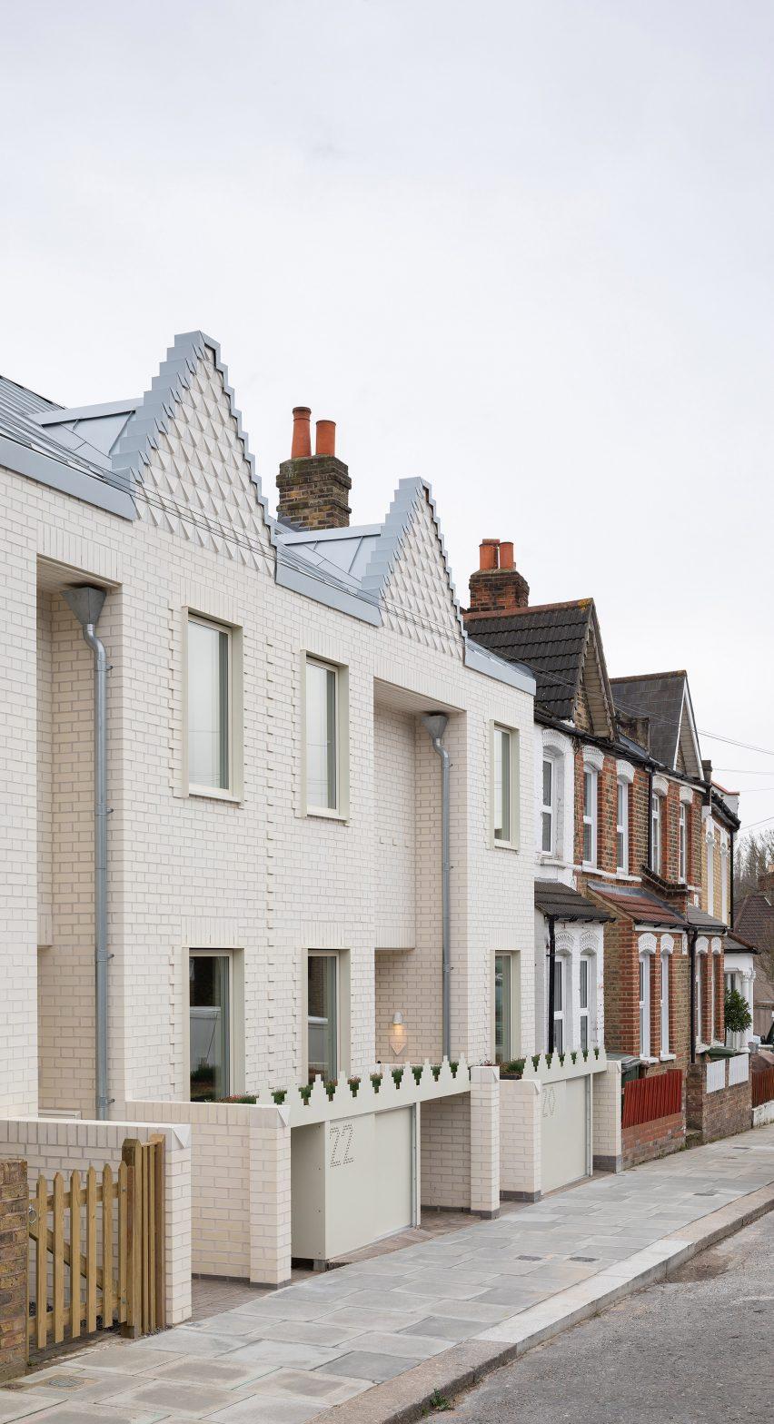 White brick terraced houses in London