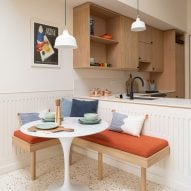 A kitchen with a terrazzo floor