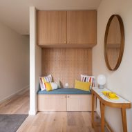 A wooden reading nook