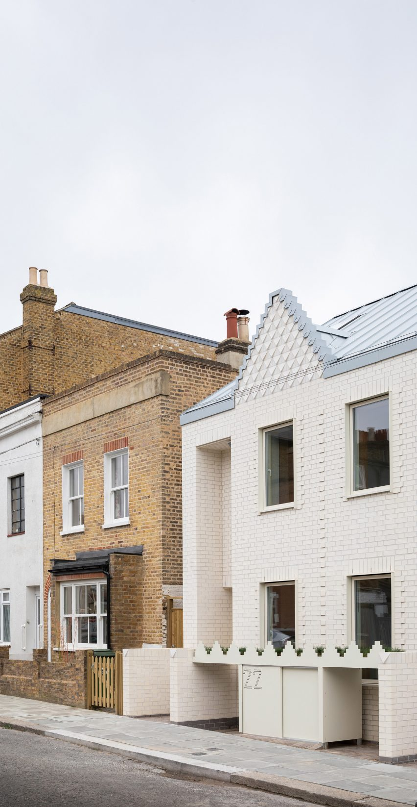 A row of terraced brick houses in London