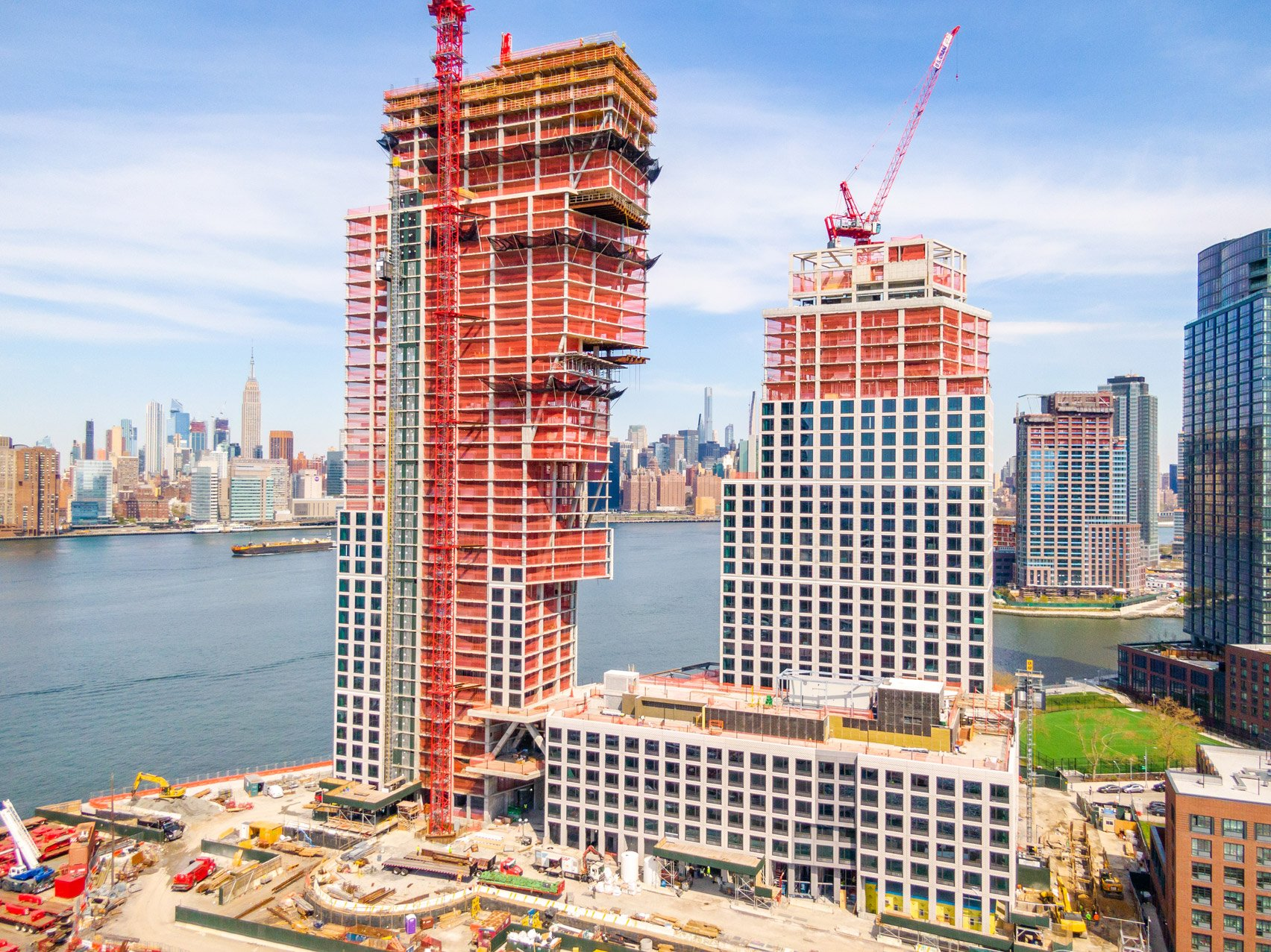 Greenpoint Landing towers by OMA top out