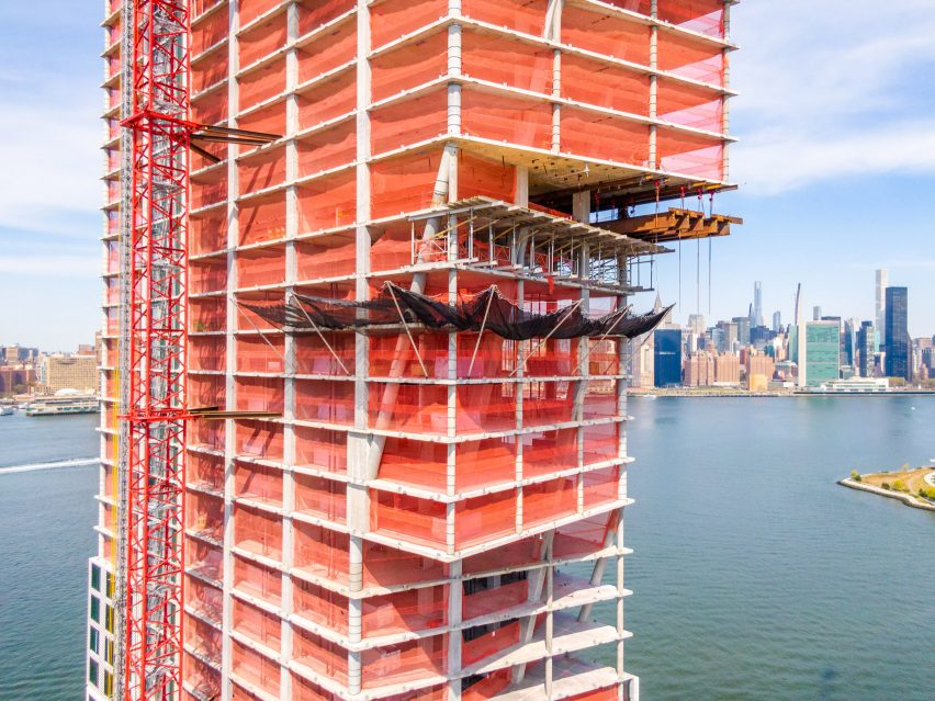 Close up construction shot of Greenpoint Landing