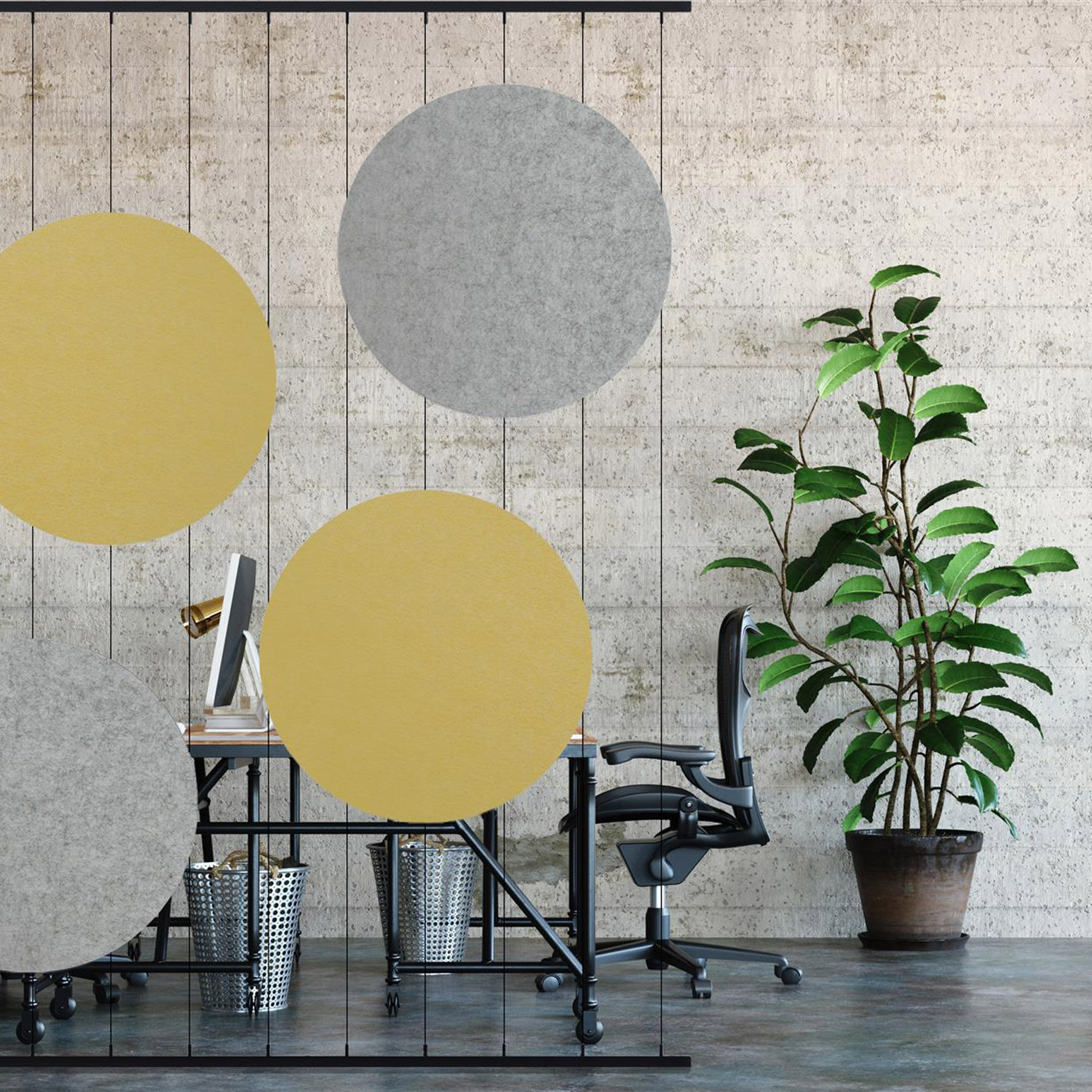 Grey and yellow acoustic room divider by Jeffrey Ibanez for Impact Acoustic