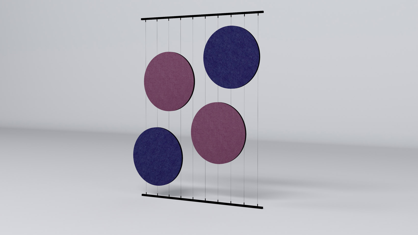 Pink and purple Helios acoustic room divider