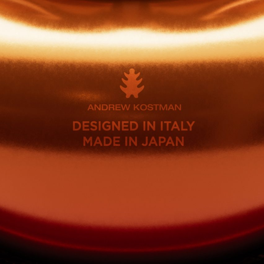 Close-up of Andrew Kostman logo that says designed in Italy and made in Japan
