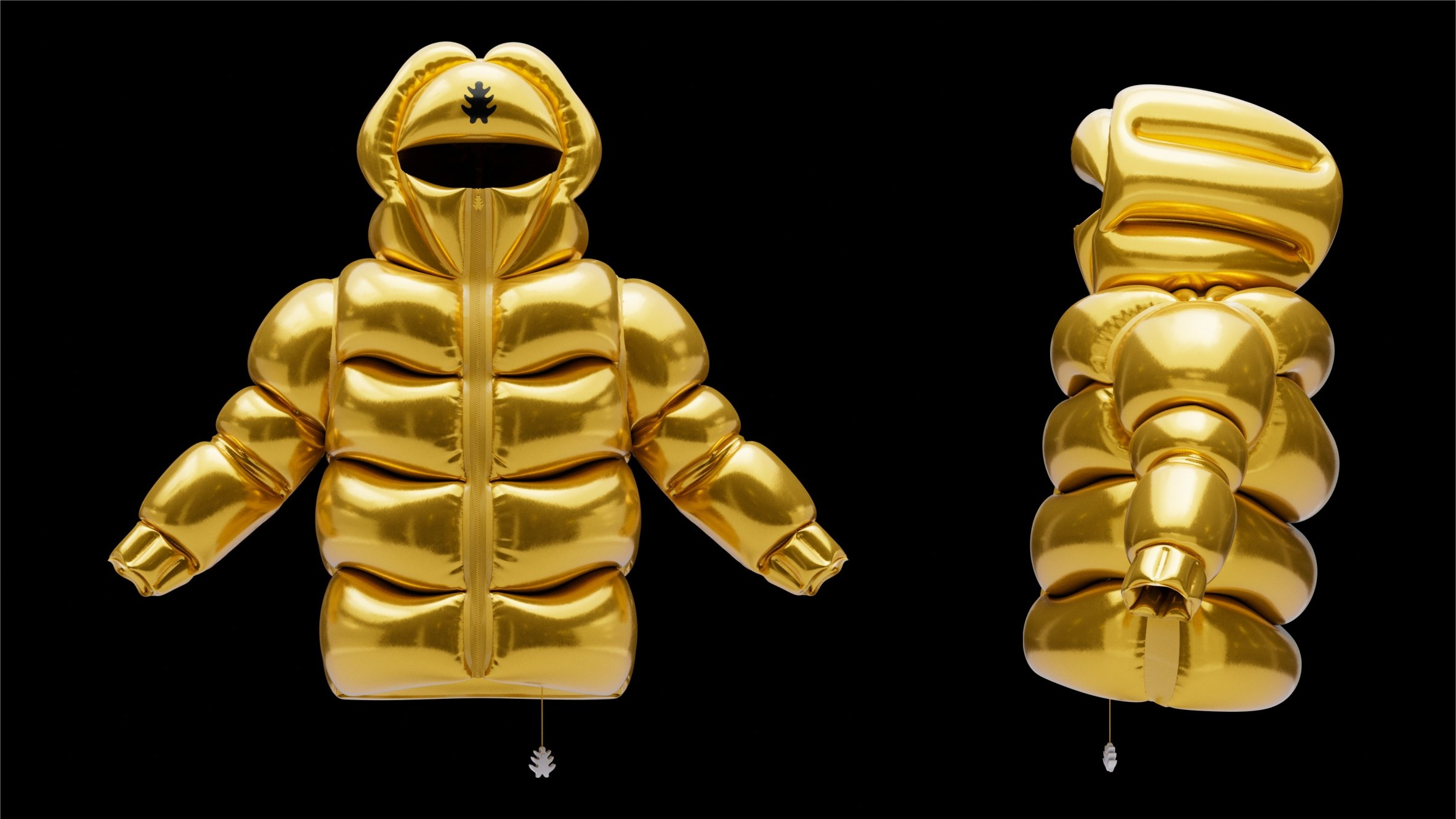 Front and side view of golden Helium-10000 jacket