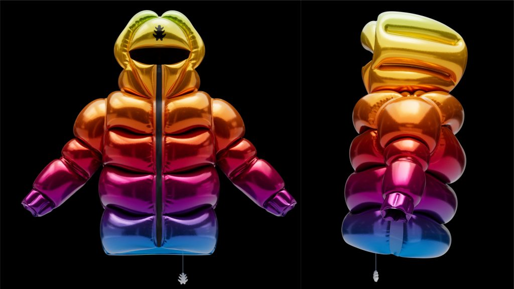 Helium-10000 is an inflatable puffer coat that floats like a balloon