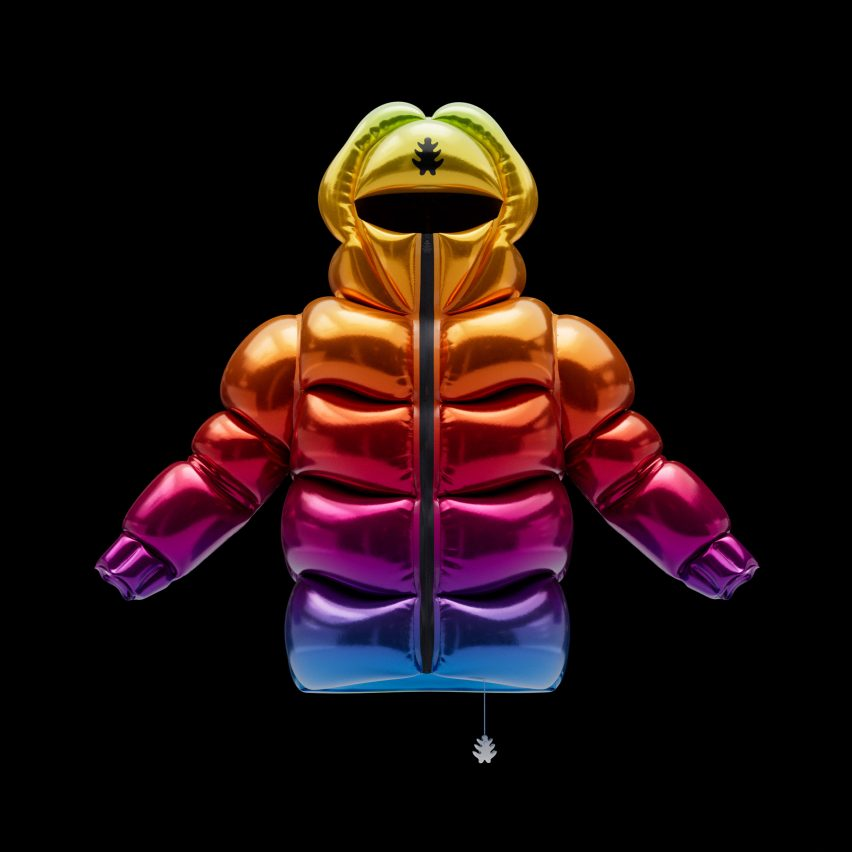 Helium-10000 jacket in rainbow gradient by Andrew Kostman