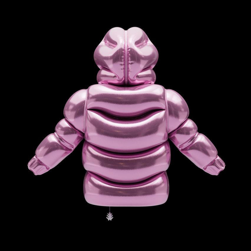 Backside of inflatable floating puffer in pink by Andrew Kostman