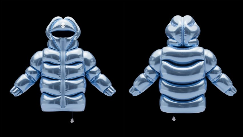 Front and back view of inflatable floating jacket in blue by Andrew Kostman
