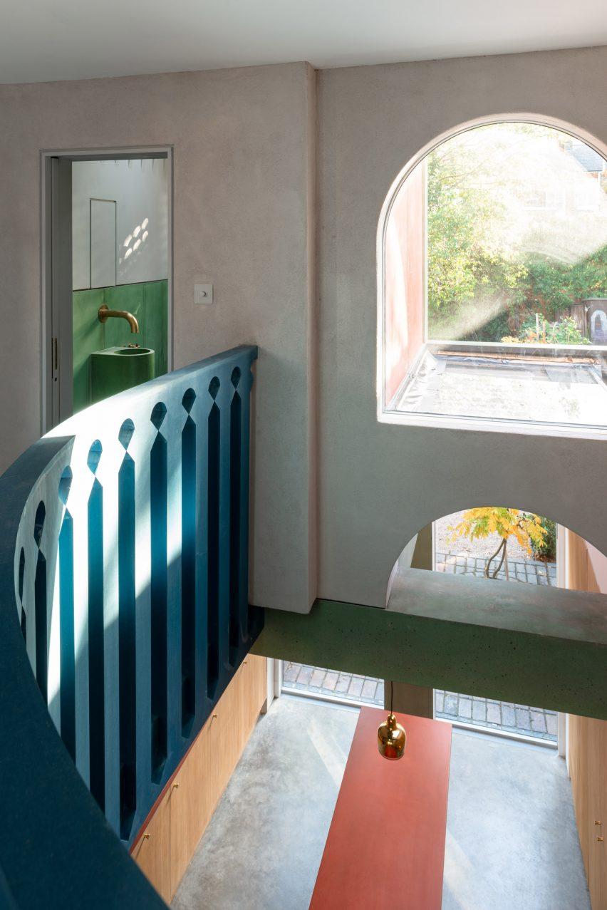 House Recast has a blue balustrade