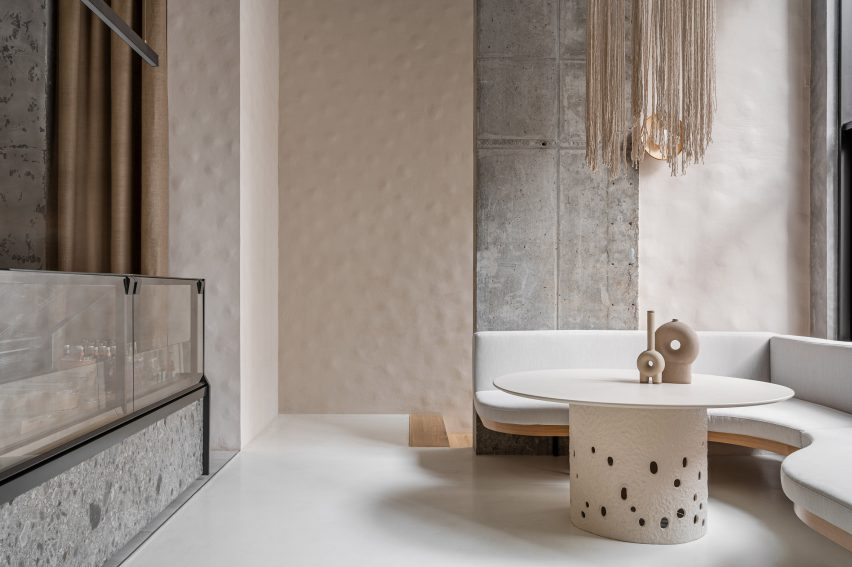 Overview of Kyiv eatery by Yakusha Design with dimpled clay walls