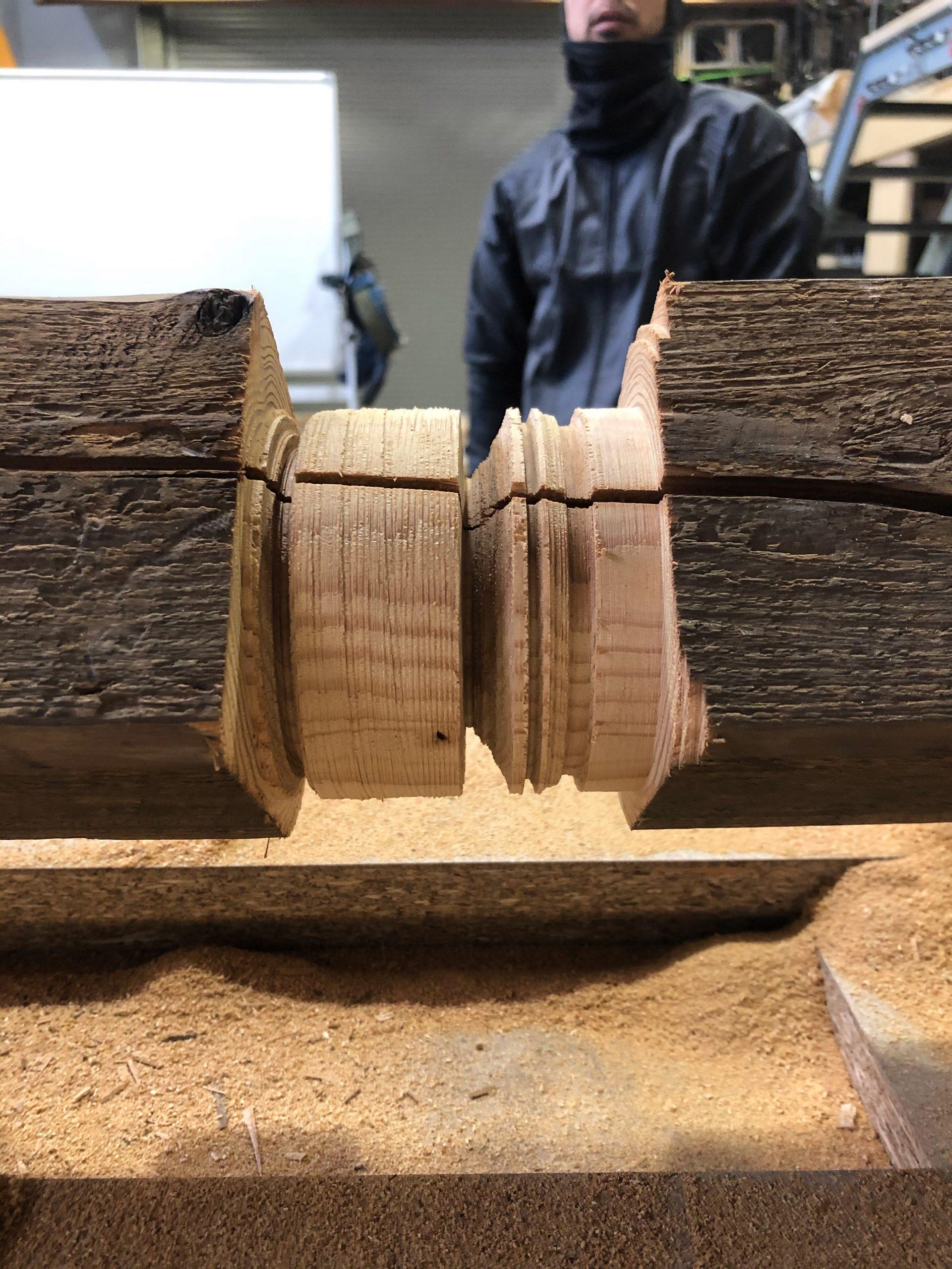 Wood cut with a circular saw lathe