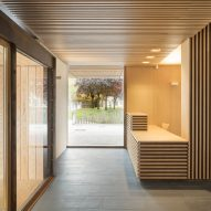 The foyer has a wood interior
