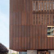 Perforated steel conceals windows