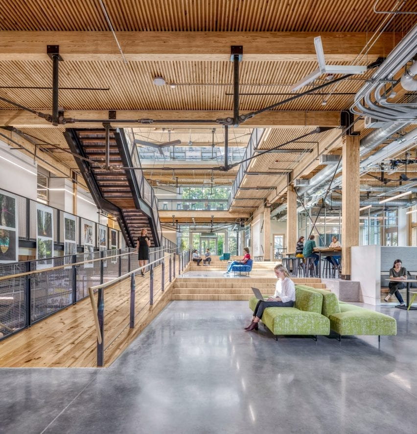 Wood forms interior spaces in the regenerative building