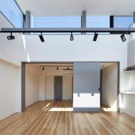 Clerestory windows wrap around the space