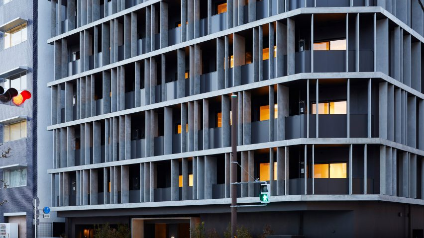 Concrete fins cover the exterior