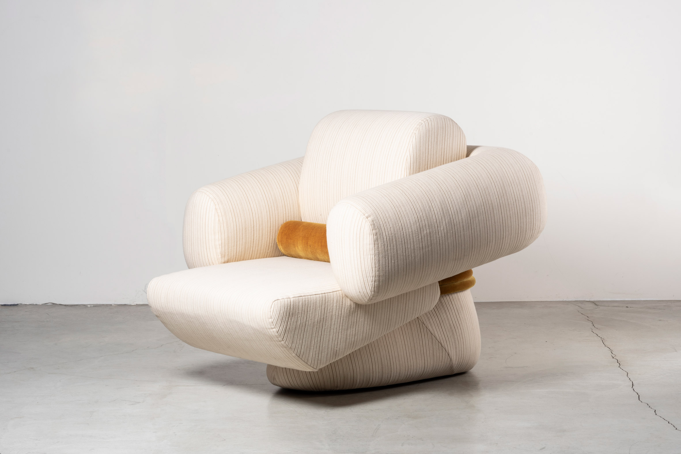 White Transformers armchair with vintage cotton upholstery