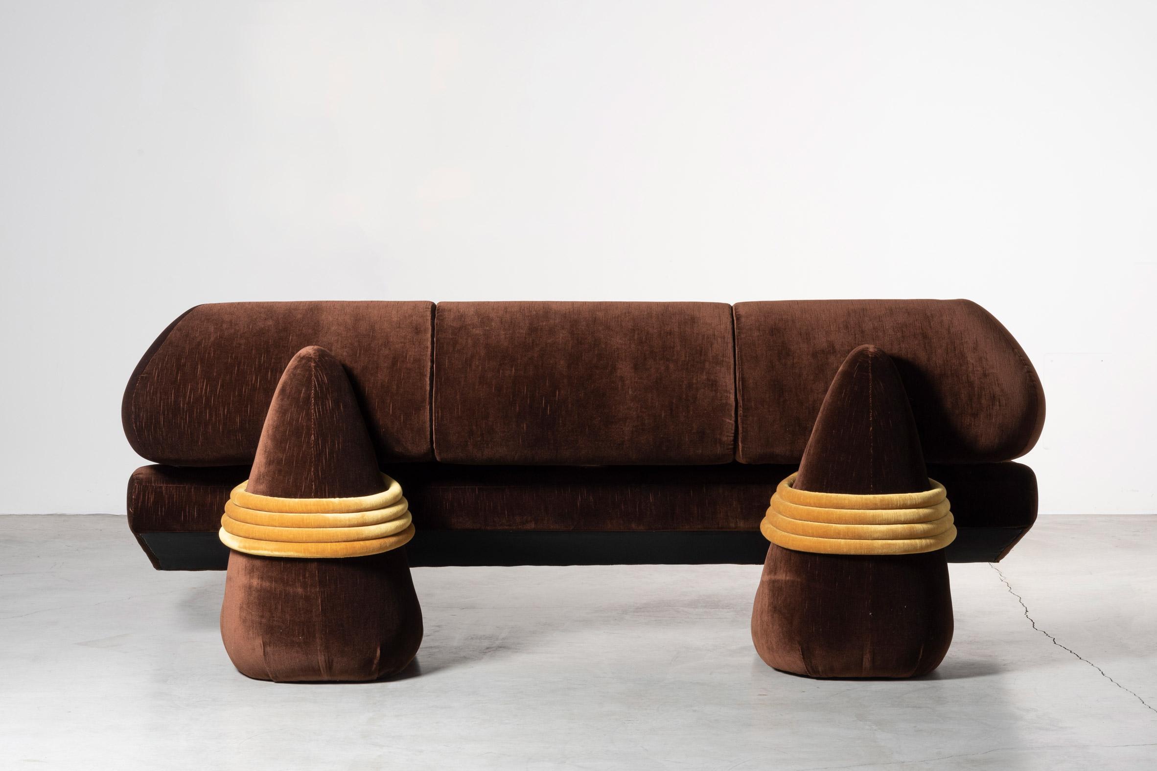 Back of brown Transformers sofa