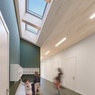 Pale wood covers the ceiling