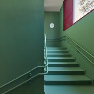 Green covers the stairwell