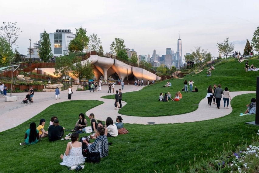 People on the grass of a new park in New York
