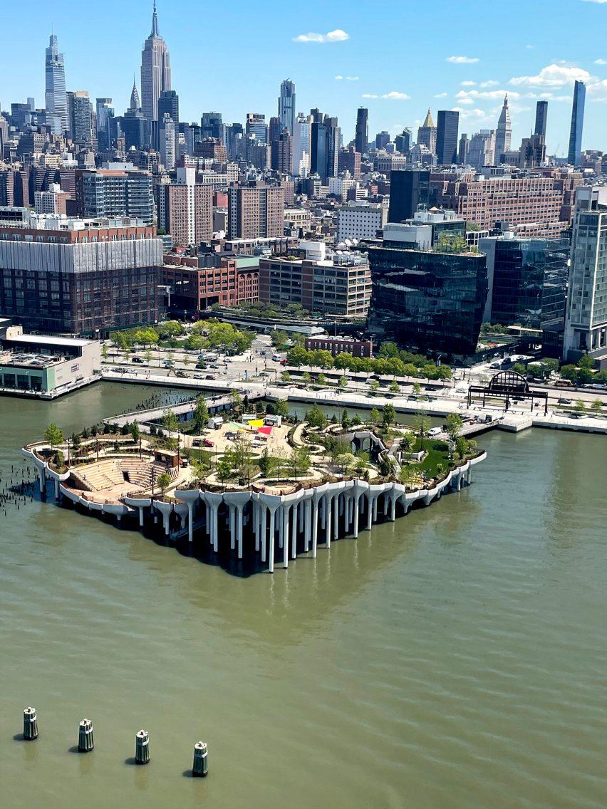 Little Island park against the New York skyline
