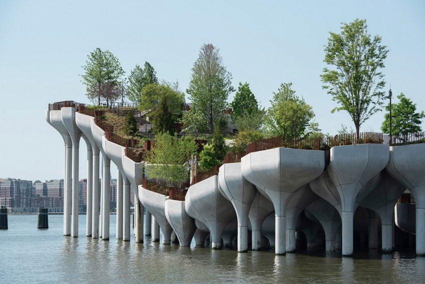 Concrete piles and planters of Manhattan river park