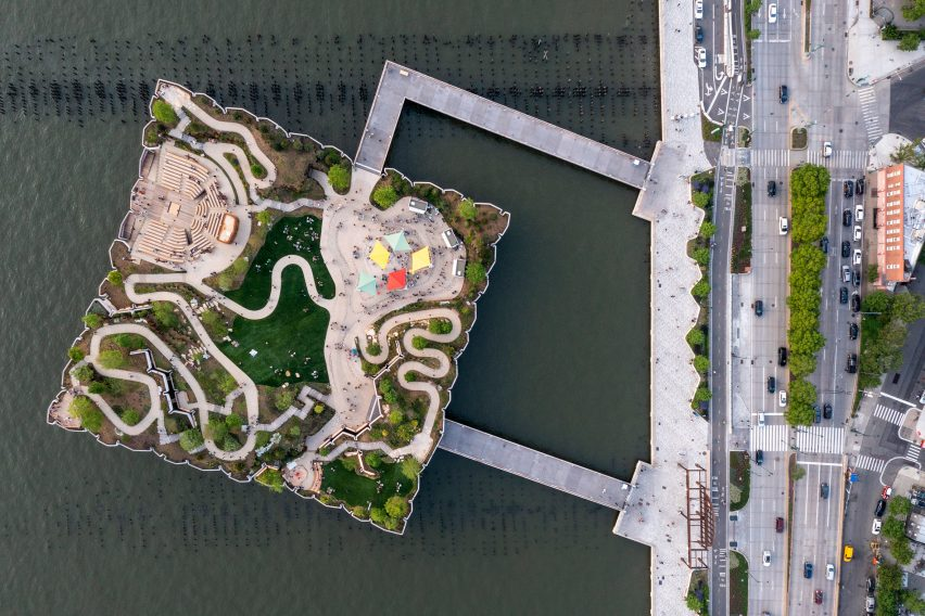 Pathways and performance venues of Little Island seen from above