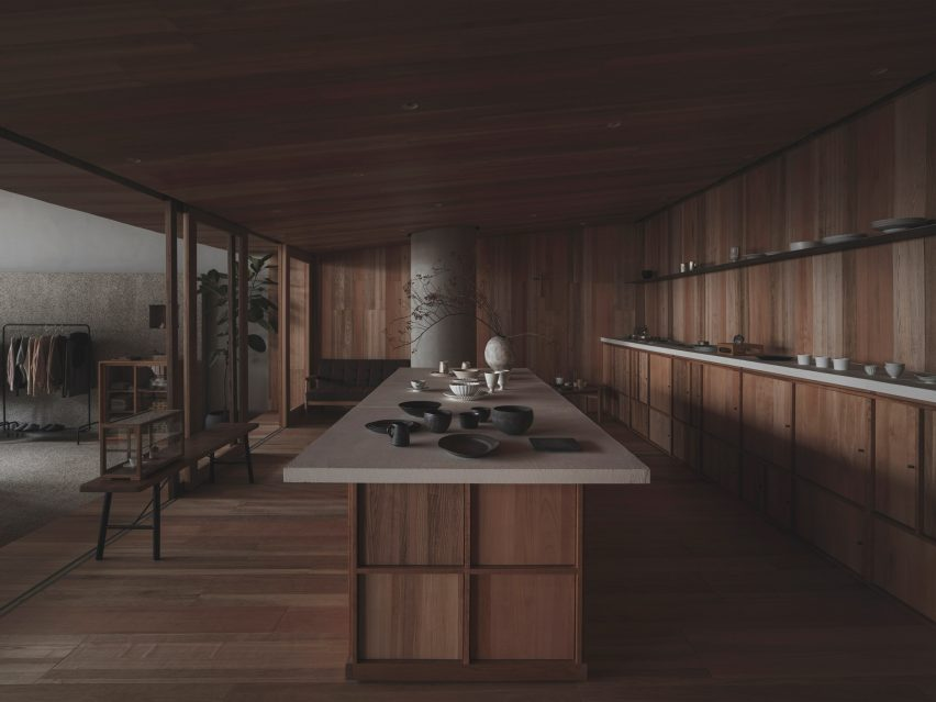 Wooden cabin with central isle in Lost & Found Hangzhou store