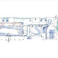 Hand drawn plan of the 2021 Danish Pavilion