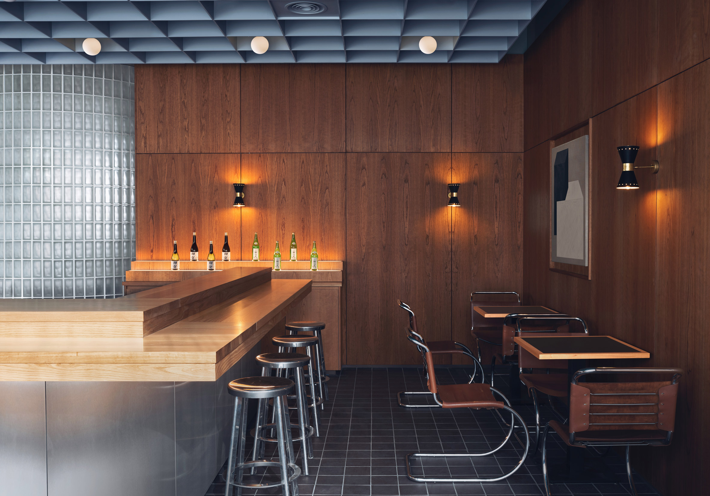Steel panelled bar and MR10 tubular steel chairs by Mies van der Rohe chairs in restaurant interior by Child Studio