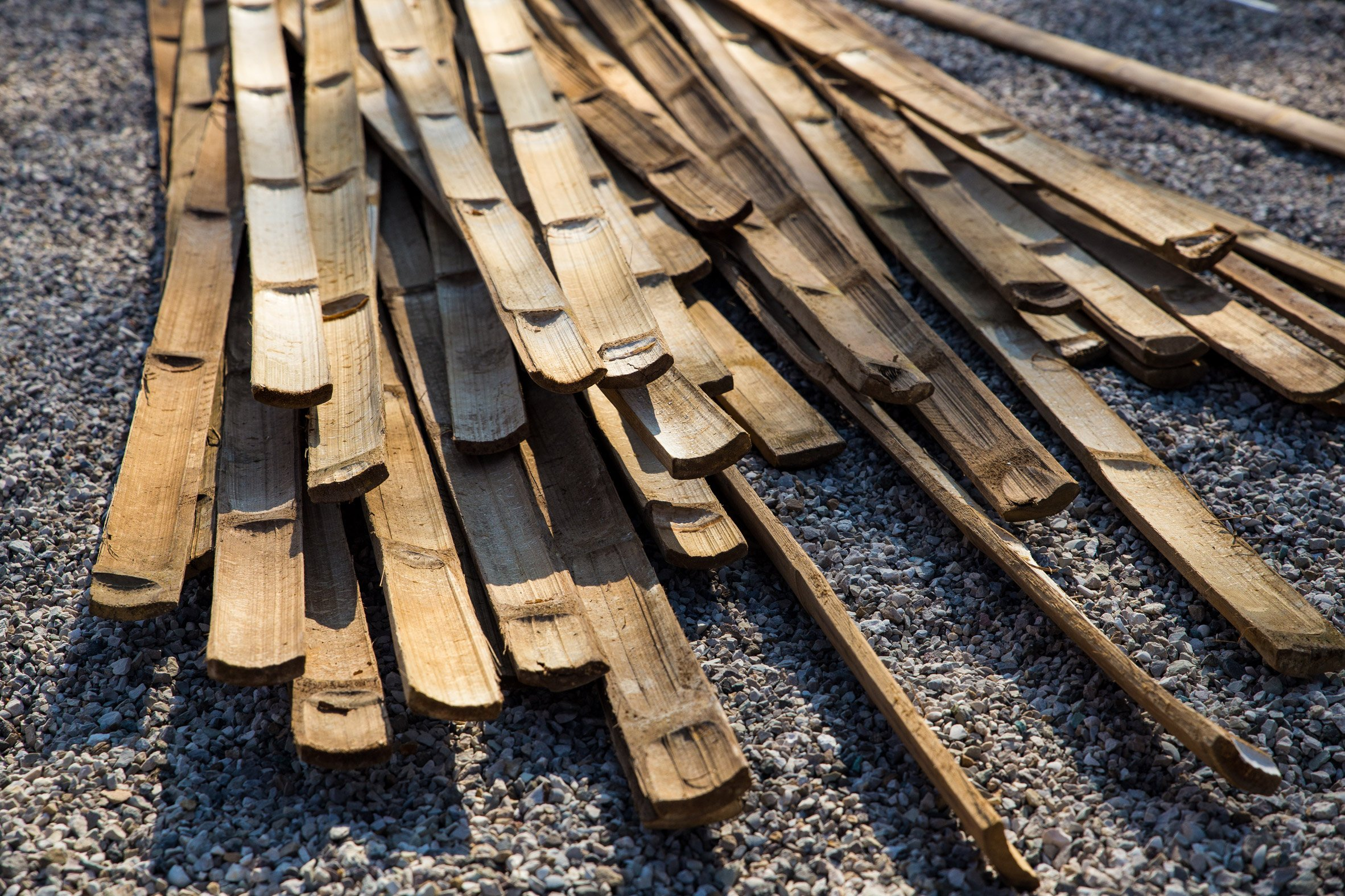 Bamboo pieces of Majlis on site