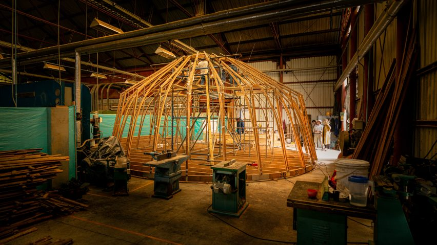 Bamboo structure of The Majlis at Venice Architecture Biennale