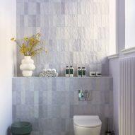 Purple tiled bathroom