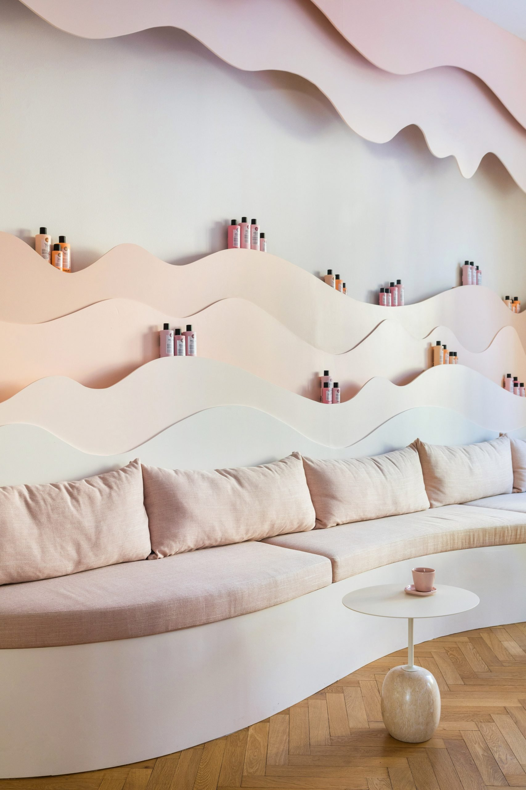 Specially designed shelves for beauty products