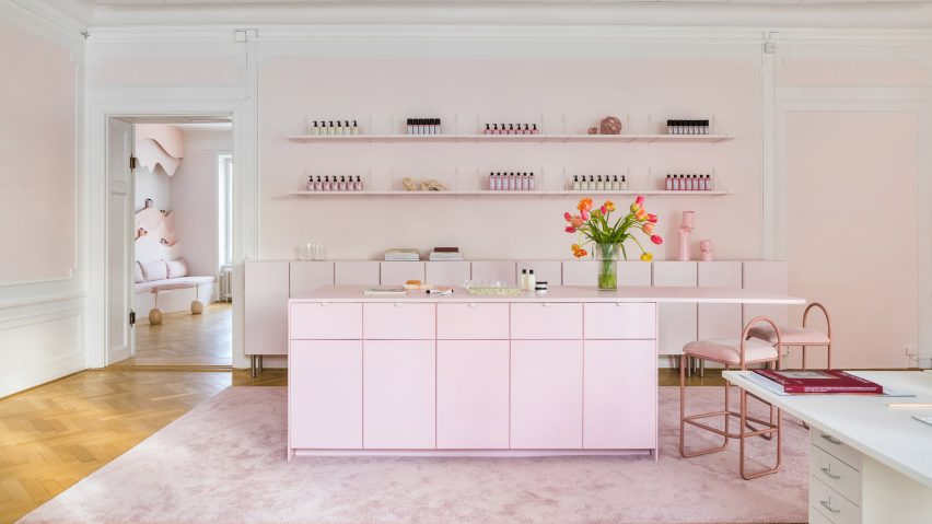 Pale pink headquarters for haircare brand