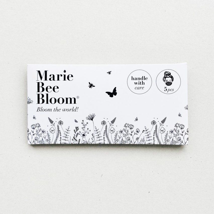 Marie Bee Bloom face mask packaging