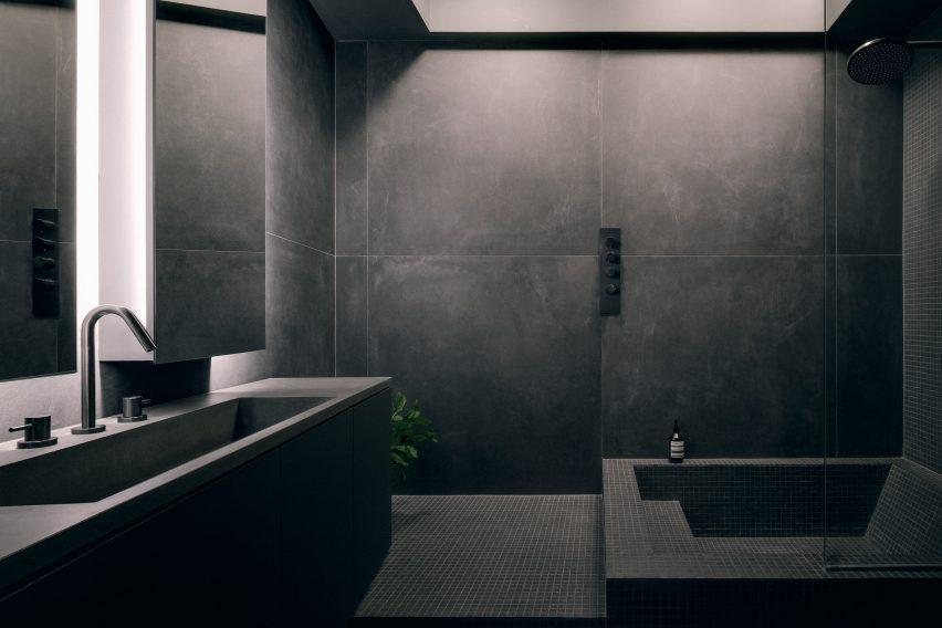Future Simple Studio designed a moody grey bathroom