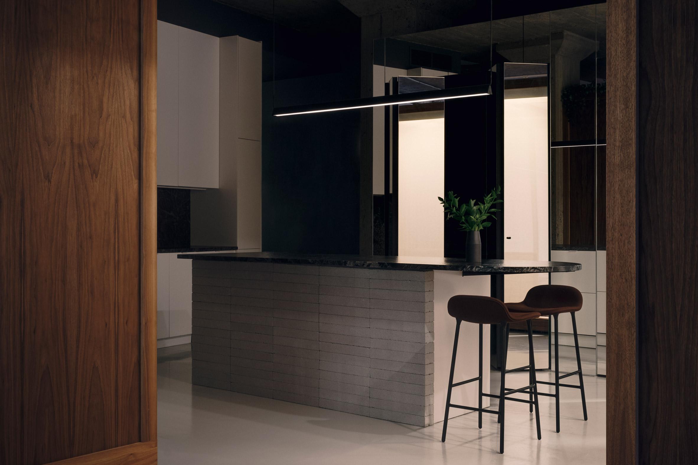 Future Simple Studio chose dark colours for the interiors