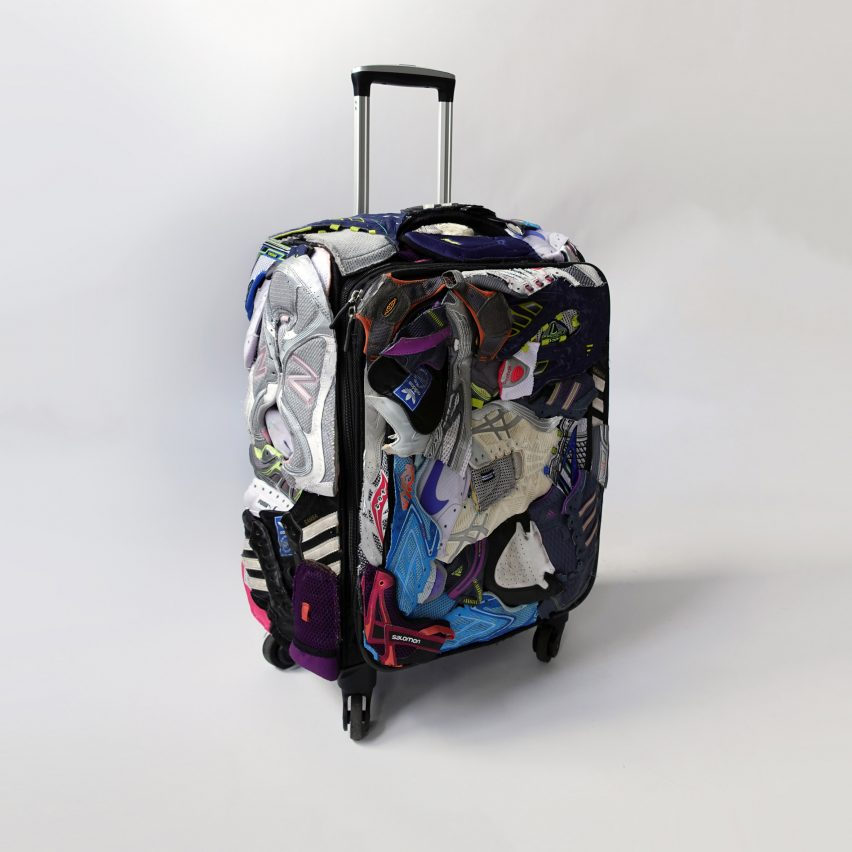Shoe case suitcase made from trainer scraps