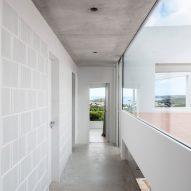 Grey brick lines the walls
