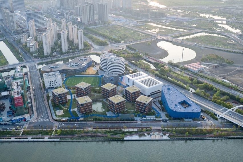 Aerial view of Shanghai Qingpu Pinghe International School by Open Architecture