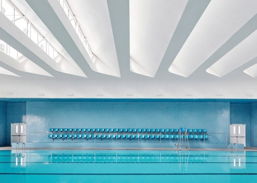 Swimming pool at Shanghai Qingpu Pinghe International School by Open Architecture