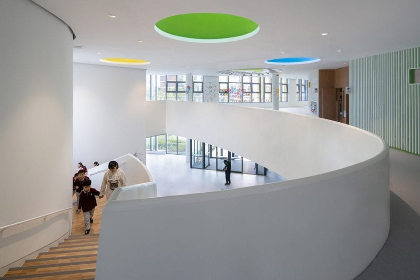 Kindergarten at Gym Canteen at Shanghai Qingpu Pinghe International School by Open Architecture